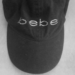 bebe Accessories - BEBE Rhinestone black baseball hat